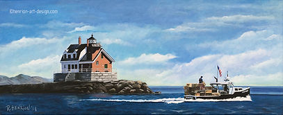 Rockland Harbor lighthouse. Painting by Roland Henrion