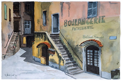 Bakery in Corsica. Water color by Roland Henrion