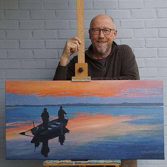 """Roland Henrion presenting """"The evening rise"""" painting"""