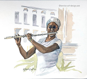 """""""Salsa flute player in Havana"""" Watercolor by Roland Henrion"""