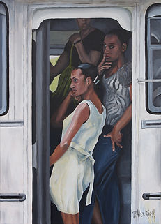 """Creole girls on the bus"" Painting by Roland Henrion"