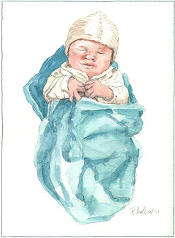 """""""Baby Daniel"""" Watercolor by Roland Henrion"""