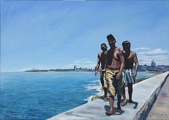 """The boys on the Malecon"" Painting by Roland Henrion"