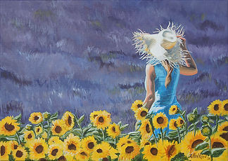 """The girl in sunflower field"" Painting by Roland Henrion"