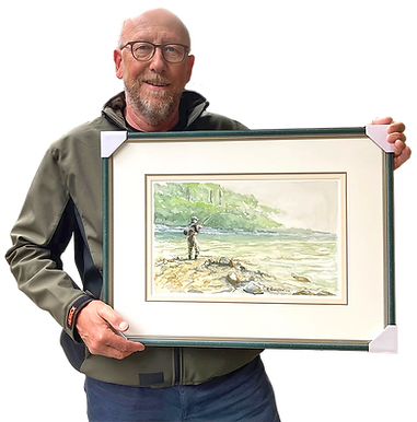 Roland Henrion with framed watercolor