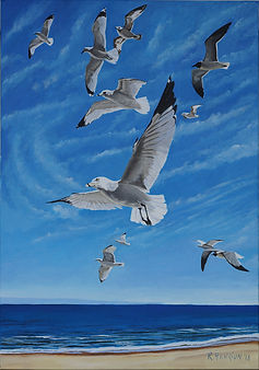 """Flock of gulls riding the wind"" Painting by Roland Henrion"