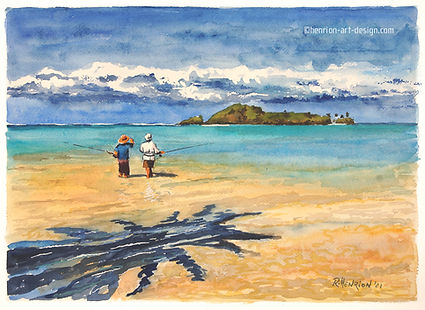 The shadow of the coconut tree. Watercolor by Roland Henrion