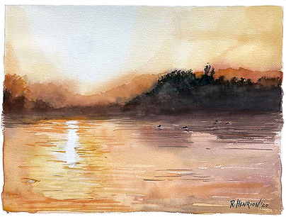 """""""Misty morning over the lake"""" Watercolor by Roland Henrion"""