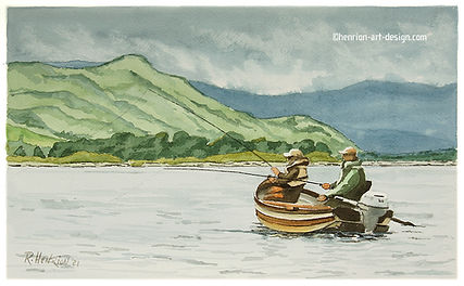 Drifting on Lough Mask. Watercolor by Roland Henrion