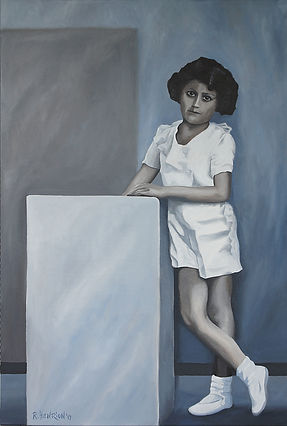"""""""Girl in white shorts"""" Painting by Roland Henrion"""