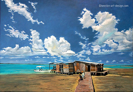 """""""El Palfito, Los Roques"""". Painting by Roland Henrion"""