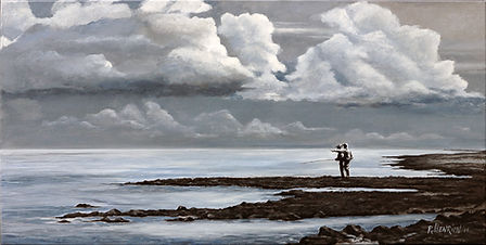 """""""Guiding on the flats, Seychelles"""" painting by Roland Henrion"""