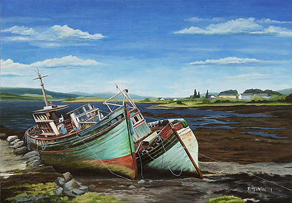 Boat wrecks in Scotland. Painting by Roland Henrion