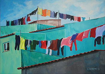 """The clothes line, Azores"" Painting by Roland Henrion"