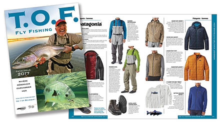 TOF Fly Fishing catalog corporate ID design by Roland Henrion
