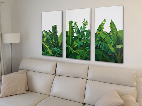 Banana leaves triptych by Roland Henrion