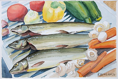 """""""Still life with fish and veggies"""" Watercolor by Roland Henrion"""