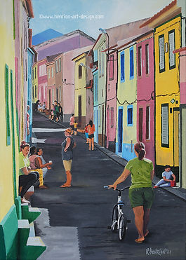 Animated street in fishermen's village. Painting by Roland Henrion
