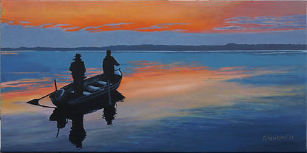 """""""The evening rise on Lough Sheelin"""" painting by Roland Henrion"""