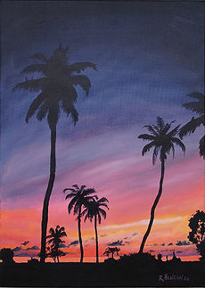 """Sunset over Bird Island, Seychelles"" Painting by Roland Henrion"