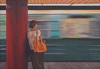 """Watching the train pass"" Painting by Roland Henrion"