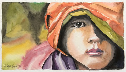 """""""The child""""Watercolor by Roland Henrion"""