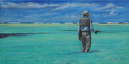 """""""Stalking permit on the flats"""" painting by Roland Henrion"""