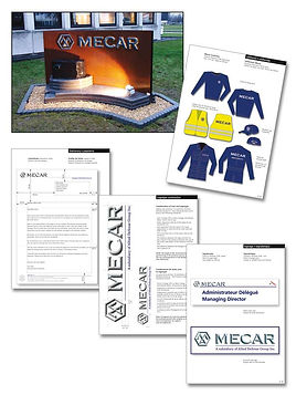 Mecar corporate ID design by Roland Henrion