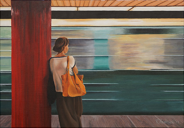 Watching the train pass. Painting by Roland Henrion