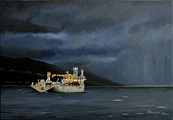 """Approaching storm in Seychelles"" Painting by Roland Henrion"