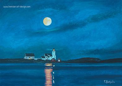 Full moon over Homborsund lighthouse. Painting by Roland Henrion
