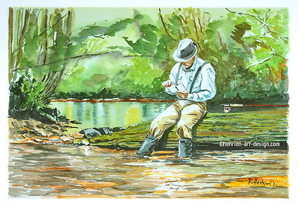 Which fly? Watercolor by Roland Henrion