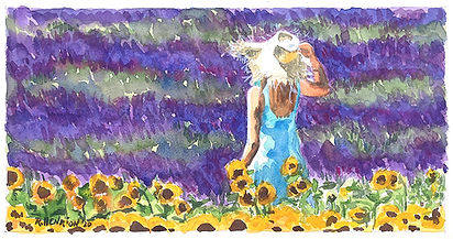 """""""The girl in the sunflower field"""" Watercolor by Roland Henrion"""