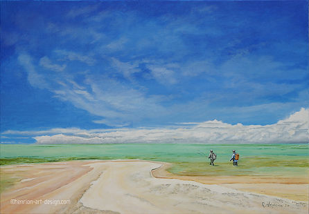 """""""Wading into infinity, St Brandon"""" painting by Roland Henrion"""