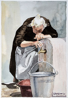 """""""The old woman by the fountain"""" Watercolor by Roland Henrion"""