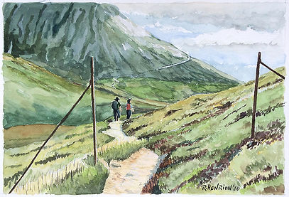 """""""Highland hikers"""" Watercolor by Roland Henrion"""