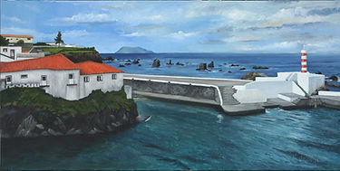 """Old port of Santa Cruz da Flores"" Painting by Roland Henrion"
