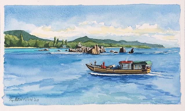 La Digue, Seychelles. Water color by Roland Henrion