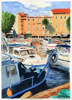 """Old port Ajaccio, Corsica"" Watercolor by Roland Henrion"