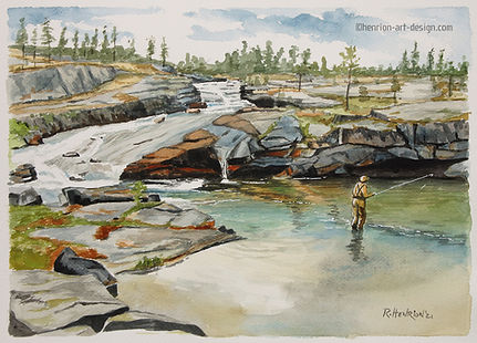 Flyfisher in Russia Watercolor by Roland Henrion