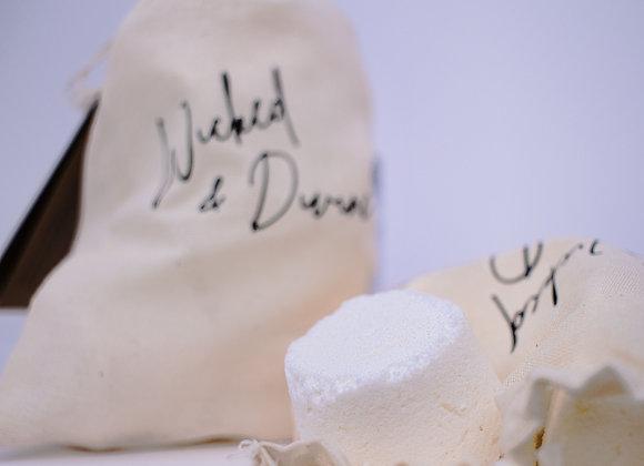 6 pastilles de douche dans un sac de cotton