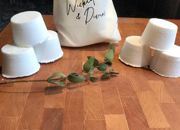 6 pastilles de douche eucalyptus et menthol dans un sac de cotton