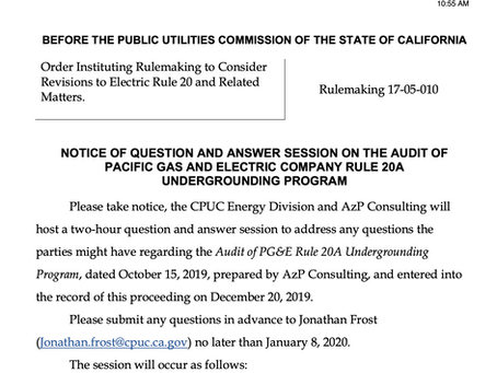 Questions & Answers on the Audit of PG&E Rule20A Undergrounding Program. Call in & hear for yourself