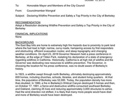 City of Berkeley to Declare Wildfire Defense a Top Priority