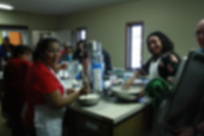 A Life Group service event during a community breakfast event