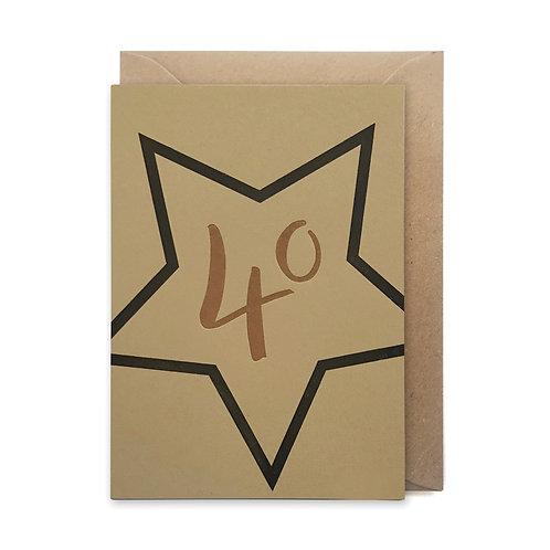 40 star card: Birthday card