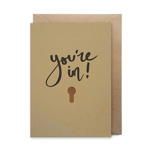 You're in card: Congratulations card