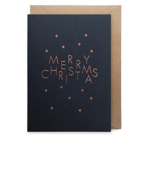 Merry Christmas spots navy: Christmas card