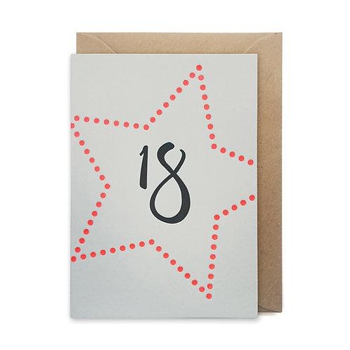 18 star card: Birthday card