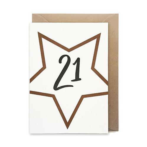 21 star card: Birthday card
